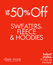 Up to 50% Off Sweater, Fleece, & Hoodies