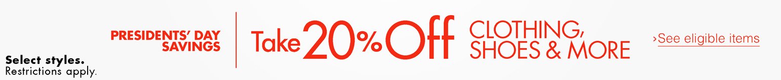 Take 20% Off Clothing, Shoes & More