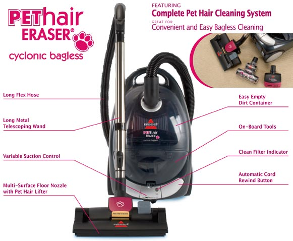 bissell 66t6c pet hair eraser cyclonic canister vacuum bagless black