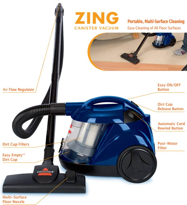 Bissell Vacuum Bissell Zing Bagless Canister Vacuum