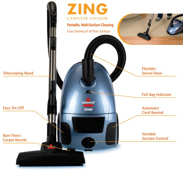 Bissell 22Q3C Zing Bagged Canister Vacuum Morgan Blue
