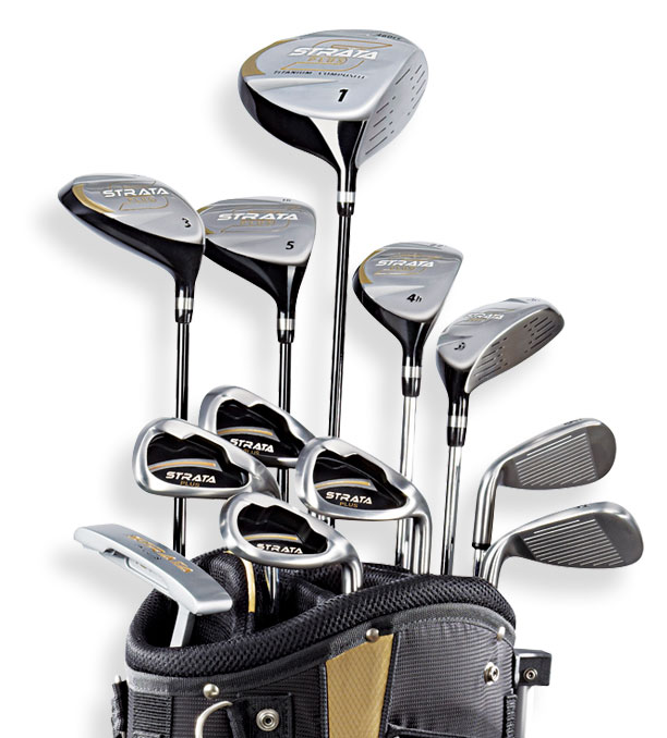 callaway men 39 s strata plus complete golf club set with bag 18 piece left hand. Black Bedroom Furniture Sets. Home Design Ideas
