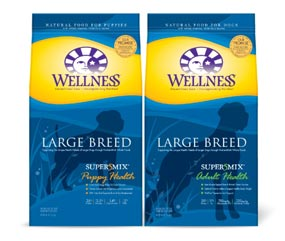 Image of 2 bags of Wellness Large Breed dog food for puppies and adults