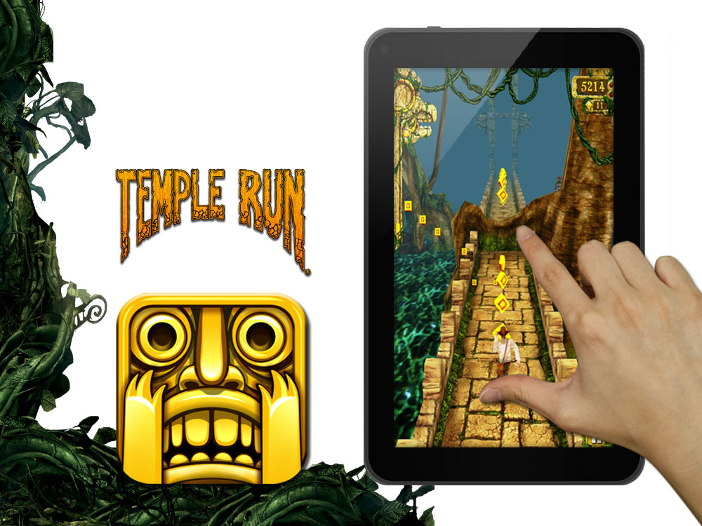 shows temple run app on display