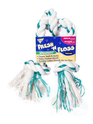 Booda Fresh N Floss 3 Knot Tug Rope Dog Toy, Medium, Spearmint