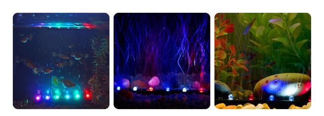 ViaAqua18in 3 3 watt Slow Color Changing LED Light  u0026 Airstone   Aquarium Background  net