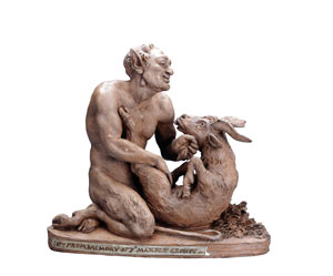 Terracotta statuette of Pan and the Goat, possibly made by Joseph Nollekens