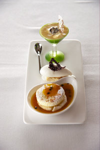 Chocolate-Pear Mousse and Crepe Souffle with Passion Fruit Sauce