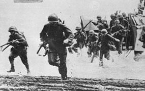 Soliders storming beach