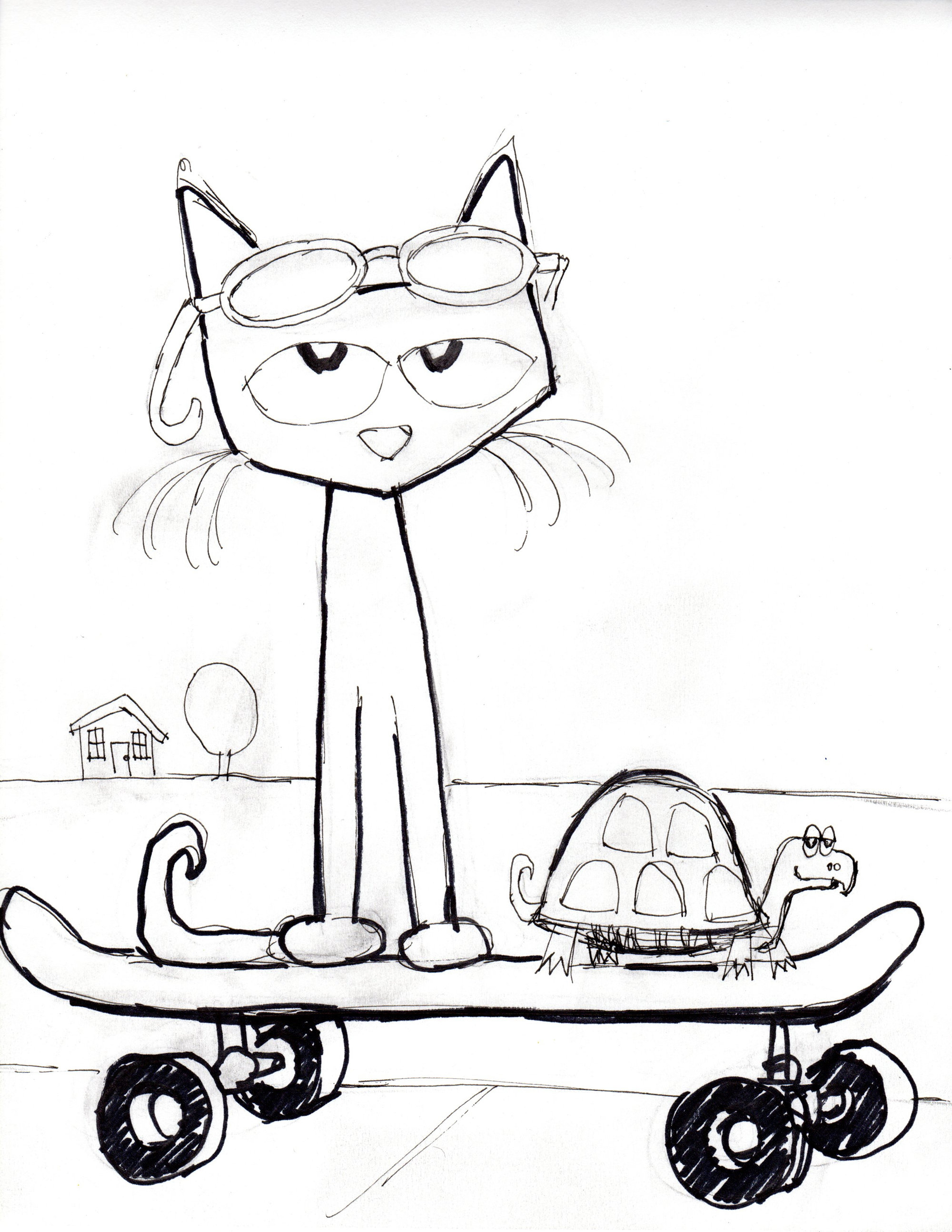 Image Result For Pete Cat Coloring Page Valentine