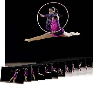 Nikon D4s images of a gymnast with a hoop in the air and multiple shots showing continuous shooting speed