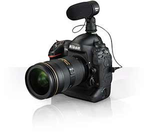 Nikon D4s product shot with a NIKKOR lens and ME-1 stereo microphone attached