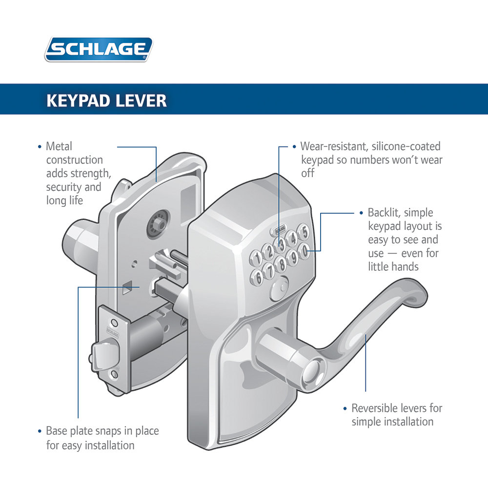 Schlage Camelot Keypad Accent Lever Door Lock Satin Nickel