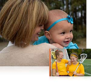 Nikon AF-S DX NIKKOR 18-55mm f/3.5-5.6G VR II photo of a mom and baby inset with two girls in lacrosse uniforms shwoing versatility