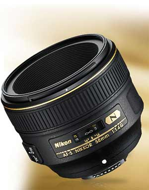 Product photo of the Nikon AF-S NIKKOR 58mm f/1.4G lens.