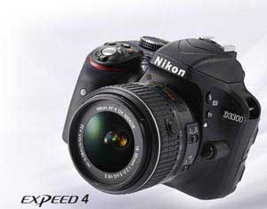Product photo of the Nikon D3300 D-SLR inset with EXPEED 4 logo