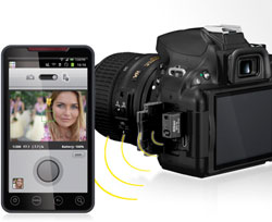 Nikon D5200 24.1 MP Digital SLR Camera 18-55mm photo of D5200 and smartphone with WU-1a and wireless utility app