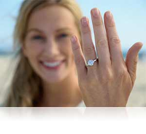Nikon D5300 photo of a woman showing off an engagement ring showing sharp focus.