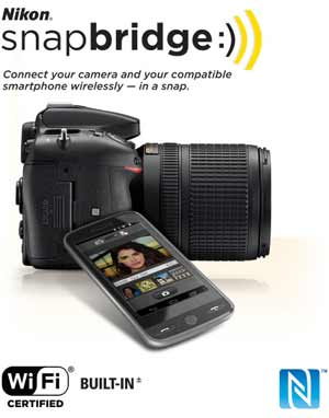 Nikon snapbridge logo and the D7200 and smartphone showing wireless connectivity