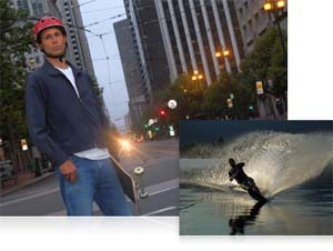 COOLPIX L610 low-light performance photos of waterskiier and skateboarder