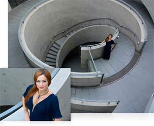 two photos of a woman and spiral concrete staircase, wide and closeup