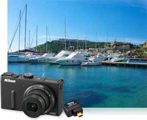Nikon COOLPIX P330 photo of boats in a marina and WU-1a showing wireless compatibiltiy