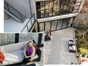 Nikon COOLPIX S5300 photo of a patio inset with a zoomed in image of a woman on a couch on the patio showing Dynamic Fine Zoom