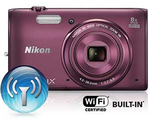 Nikon COOLPIX S5300 product photo inset with the Wi-Fi icon and Wi-Fi certified built-in logo