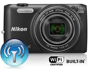 Nikon COOLPIX S6800 product photo with Wi-Fi icon and Wi-Fi certified built-in logo