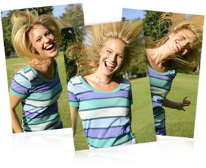 three photo composite of a girl shaking her hair, shot with the Nikon 1 V2