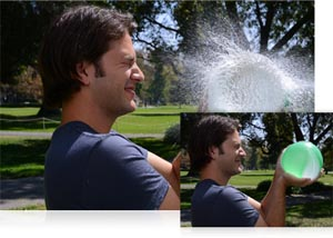photos of a man with a water balloon, and popped water balloon shot with the Nikon 1 V2