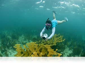 Photo of girl with Nikon 1 WP-N1 waterproof housing on reef