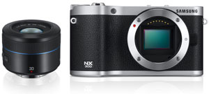 Samsung NX300 with 45mm 2D/3D lens (EX-S45AD) Product Shot