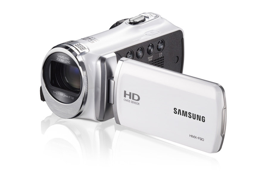 "F90 White Camcorder with 2.7"" LCD Screen and HD Video Recording"