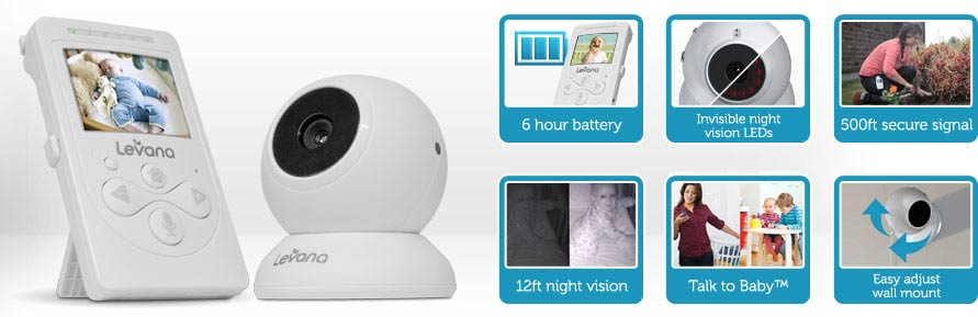 levana lila digital baby video monitor with night vision and talk to baby intercom 32000 white. Black Bedroom Furniture Sets. Home Design Ideas