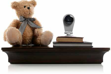 Dropcam on a shelf as a baby monitor