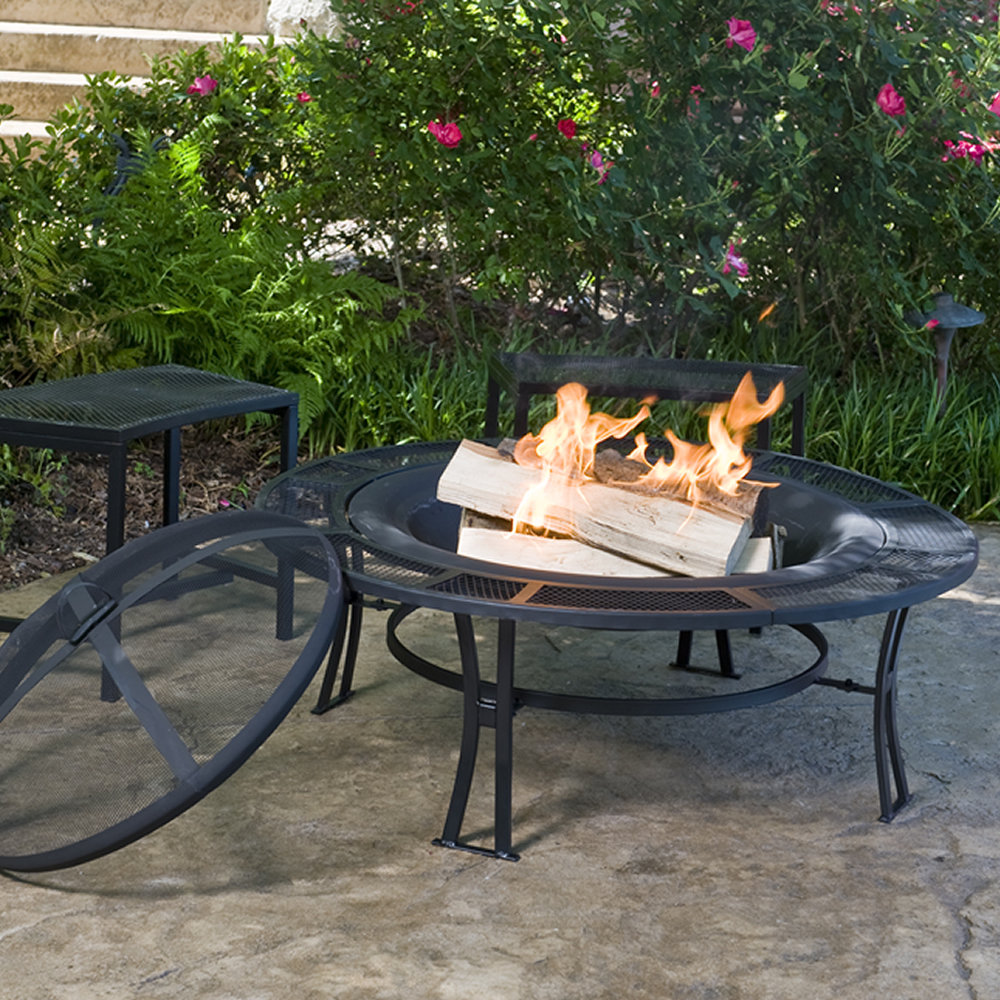 Cobraco Steel Mesh Rim Fire Pit And Two Bench