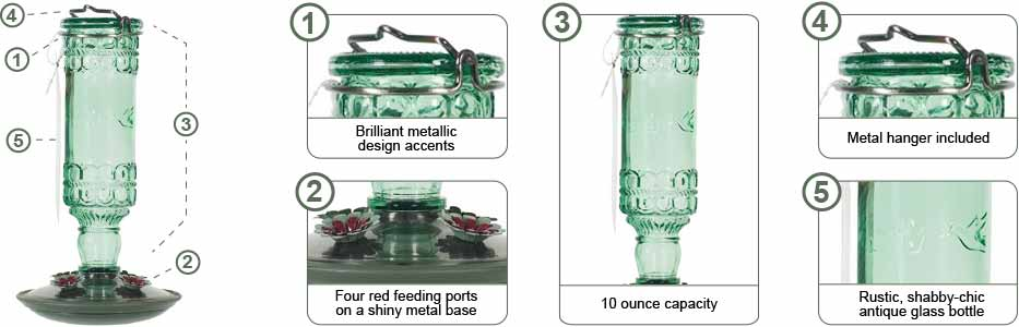 Perky-Pet Clear Antique Bottle Hummingbird Feeder