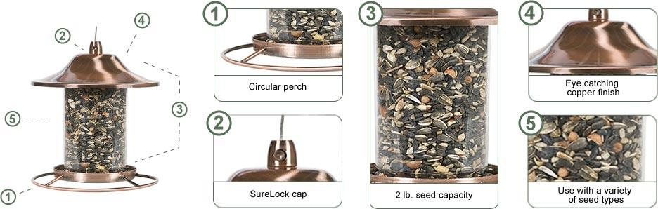 Perky-Pet Copper Panorama Wild Bird Feeder
