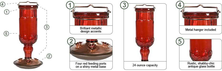 Perky-Pet Red Antique Bottle Hummingbird Feeder