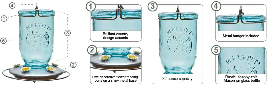 Perky-Pet Sea Glass Mason Jar Hummingbird Feeder