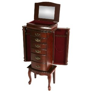 sei freestanding jewelry armoire mahogany furniture decor. Black Bedroom Furniture Sets. Home Design Ideas