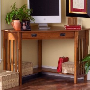 Amazon Com Mission Oak Corner Desk Southern Enterprises