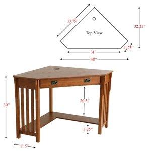 Mission Oak Corner Desk - Southern Enterprises H0664100TX: Furniture