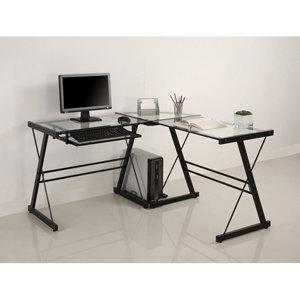 Walker Edison 3-Piece Contemporary Desk, Black
