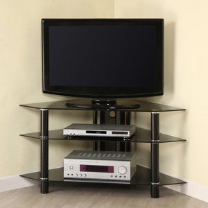 Walker Edison 44 Inch Glass and Metal Corner TV Stand, Black