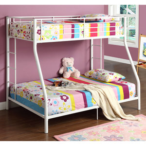 walker edison twin over full bunk bed white