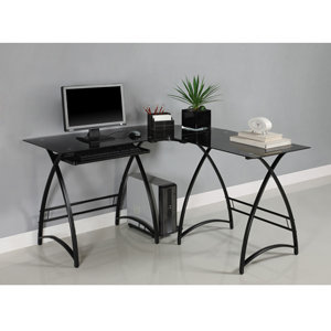 Walker Edison L-Shaped Glass Computer Desk, Black/Black