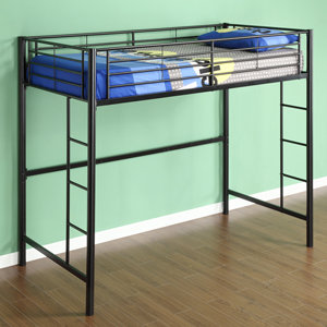 Walker edison sunset metal twin loft bunk bed Black bunk beds