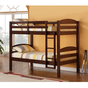 Walker Edison Twin/Twin Solid Wood Bunk, Espresso